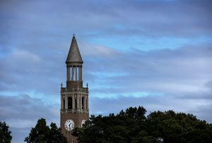 The UNC Bell Tower on the campus of the University of North Carolina at Chapel Hill October 6, 2016.