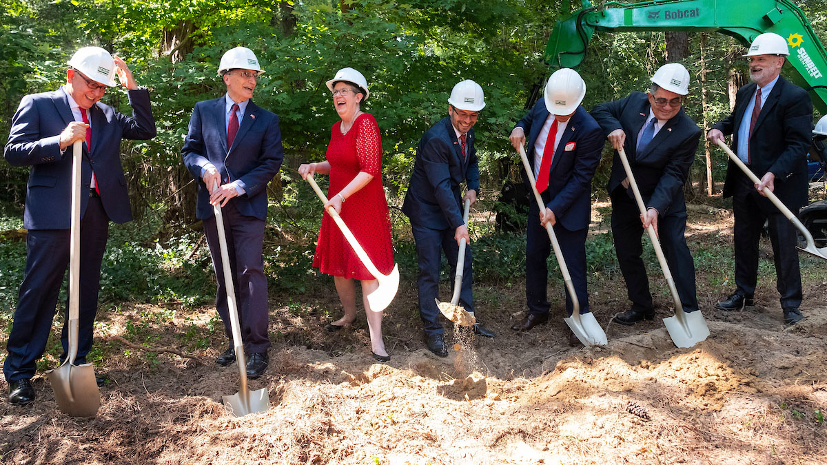 Photo of 7 people Groundbreaking ceremony of the Sancar Turkish Cultural and Community Center located at 1609 East Franklin Street. Chapel Hill, NC. August 30, 2018. Turkish Ambassador to the United States, Serdar Kilic, and Chapel Hill Mayor, Pam Hemminger, in attendance. photo credit Jon Gardiner UNC Chapel Hill