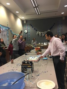 photo of group with a cake Pedro N. Pozo, graduate student in Cook lab defends his thesis in 2018