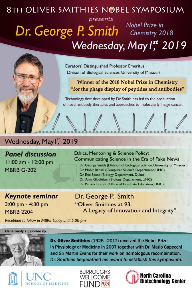 flier announcement of Dr. George P. Smith talks at UNC on May 1 2019 11am and 3 pm in MBRB
