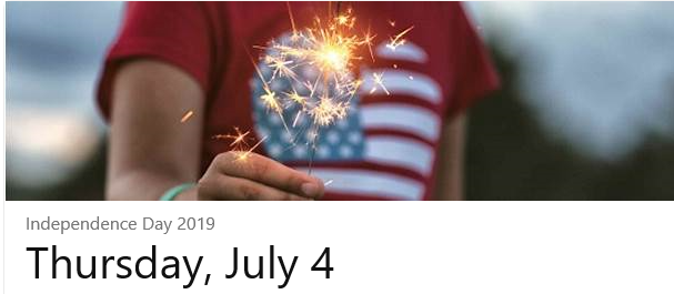 photo of hand holding a sparkler with us flag and note July 4th 2019