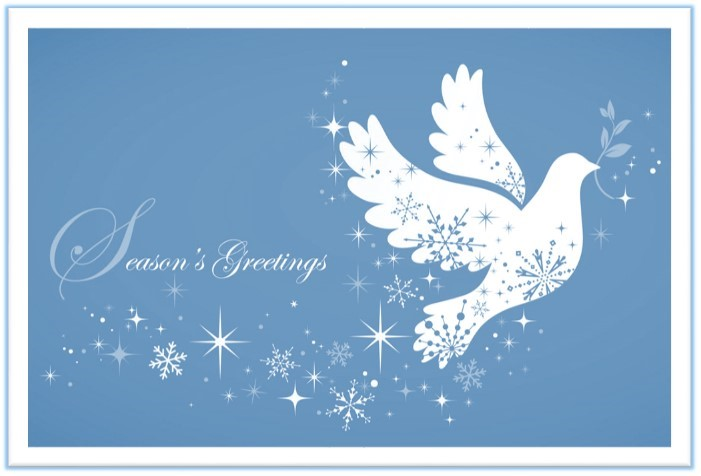 seasons greetings white dove on cover of image