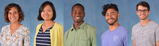 photos of 5 Graduate students: Amelia McCue, Thanh Thanh Phan, Xavier Bonner , Edgar Faison and Baggio Evangelista