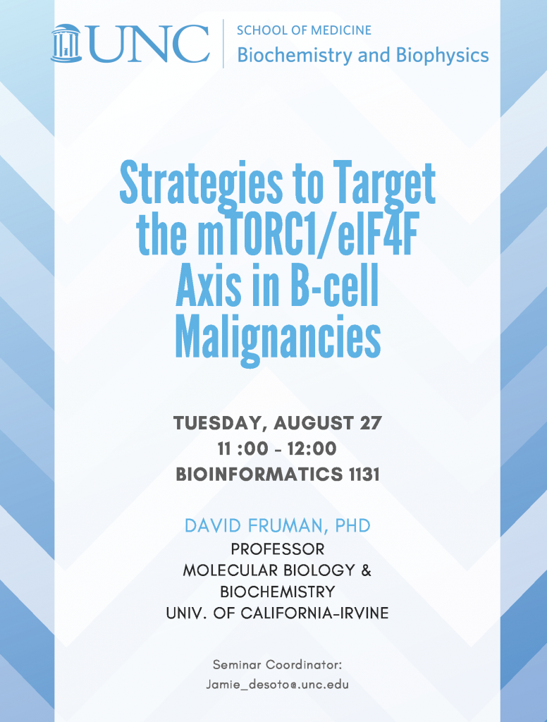 DAVID FRUMAN speaks at Biochemistry seminar on August 27 2019 at 11am