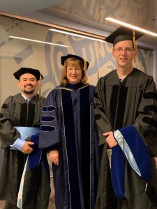 photo at dr hooding at UNC in May 2019 with pedro pozo and jacob matson and dr jean cook
