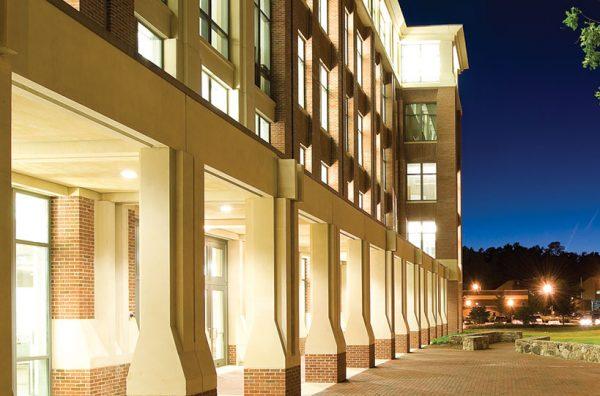 genetic medicine building in evening lights