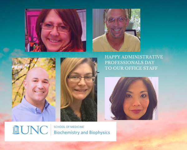 """Happy administrative professionals' day to our office staff (and to others not shown here). Thank you for all you do to help our department run smoothly from business management & finance, accounting, grant administration, communications & development, to event coordination & executive assisting. We wish everyone a good day, hope that all of you are healthy and safe. Thank you for all of your hard work, patience, loyalty and dedication that you give to our department each day! Marsha """"Lynn"""" Ray, Associate Chair for Administration; John Hutton, Post-Awards Administrator; Steven Torchio, Human Resources Consultant; Carolyn M. Clabo, Director of Communications & Development; Jamie DeSoto, Executive Assistant to the Chair. Not pictured here: Jesse Arp, Post-Awards Administrator; Meg DeMarco, Pre-Awards Administrator; Leah Combs, Accounting Technician. To all our fabulous undergrads who work in our business office: Sean Raycroft, Madia Brown, and Yazmine Nixon, here's a big thank you for all you do everyday!"""