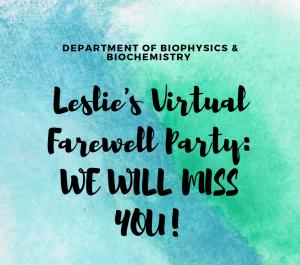 Leslie Parise flier for farewell party 5.13.2020
