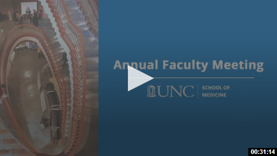 annual faculty meeting with blue background