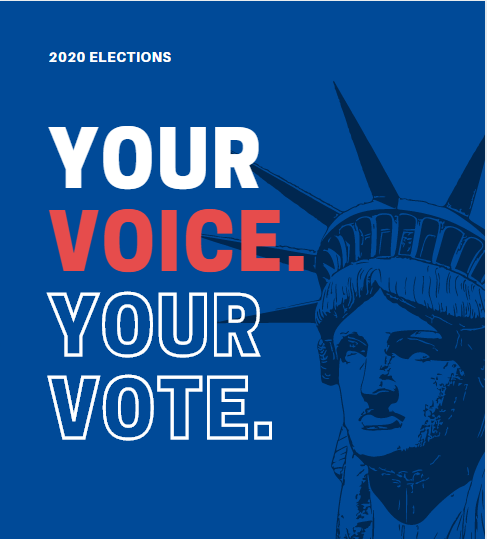 text 2020 elections your voice. your vote_image statue of liberty in the background