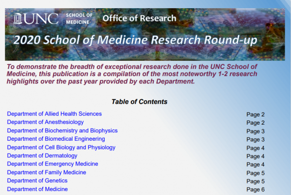 banner of the unc som office of research newsletter