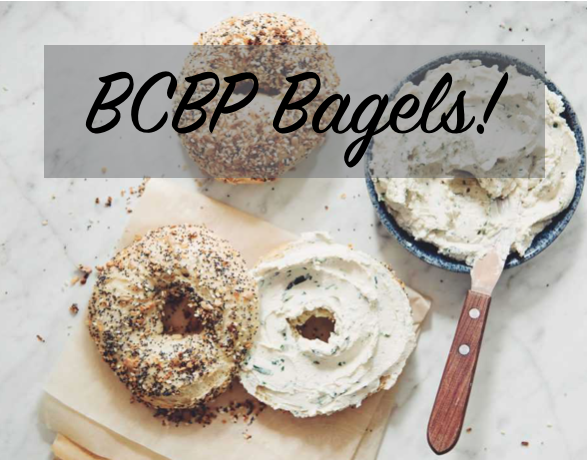 """text """"BCBP Bagels"""" image of bagel with spread"""