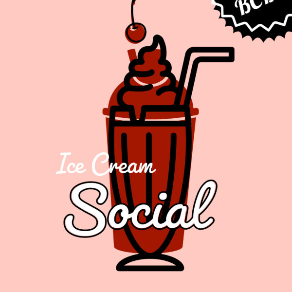 text: UNC BCBP Ice Cream Social Monday August 2 4 to 6 pm at Ben and Jerry's on Franklin Street , image: pink background with ice cream float
