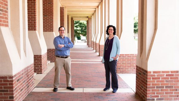 Brian Strahl, the interim chair and professor of biochemistry and biophysics at the UNC School of Medicine, and Samantha Pattenden, associate professor at the Eshelman School of Pharmacy. (Photo by Sarah Daniels, Innovate Carolina)