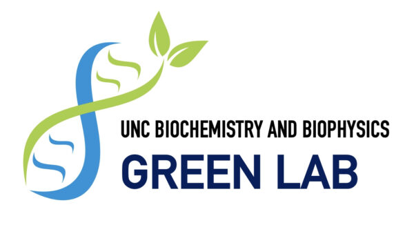 green labs at unc bcbp logo with blue and green dna leaf art