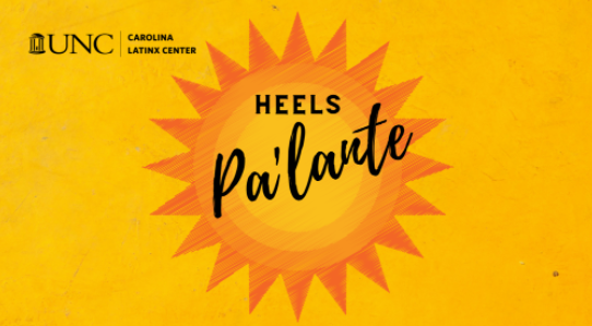 """Yeloow background with orange sun with points text """"Heels Pa'lante"""""""