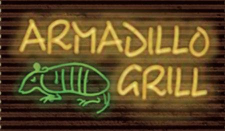 armadillo grill spelled in lights