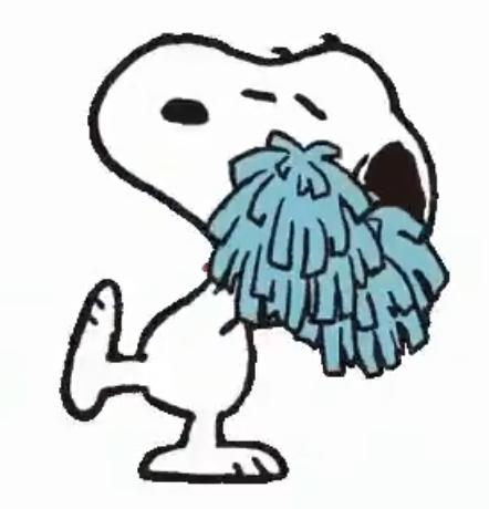 Snoopy cartoon holding a blue pom pom