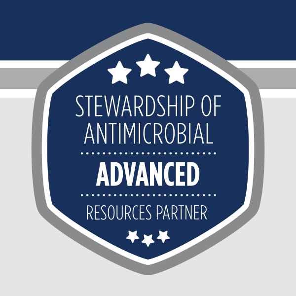Badge showing advanced partnership for antimicrobial stewardship