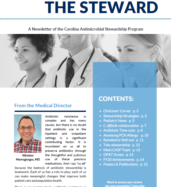 image of the front page of the CASP 2020 newsletter The Steward