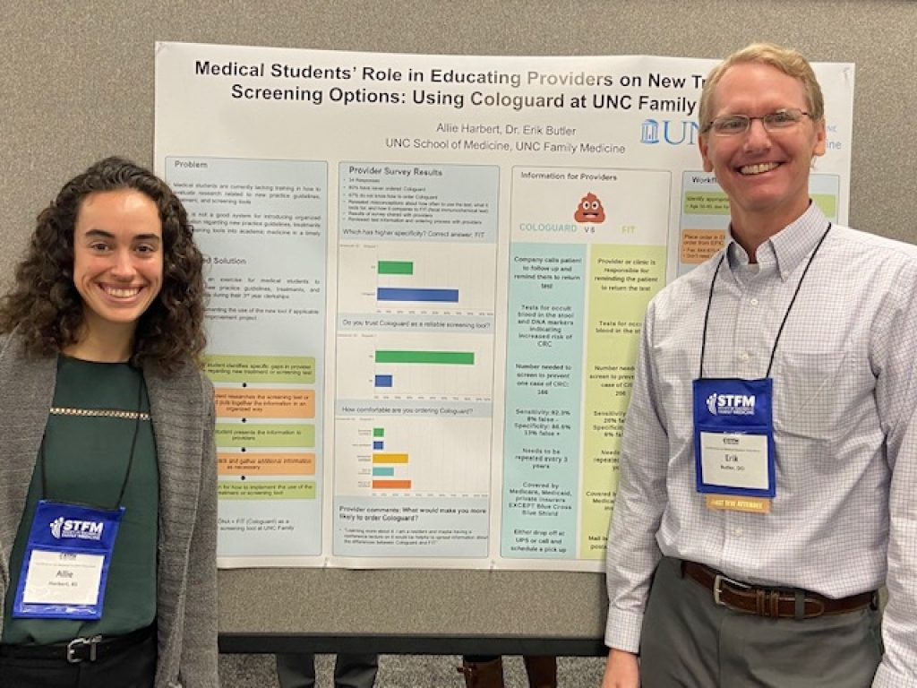 Faculty member and student present poster at STFM Conference