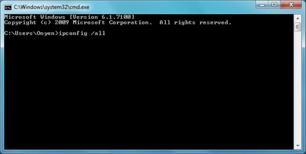 Picture of ipconfig /all typed in a cmd prompt