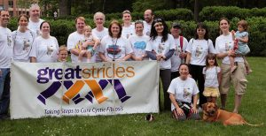 Silvia (front, kneeling) walking with her certified therapy dog, Whiskey, and CF Center colleagues during the annual Chapel Hill Great Strides walk to raise awareness and funds for Cystic Fibrosis research.