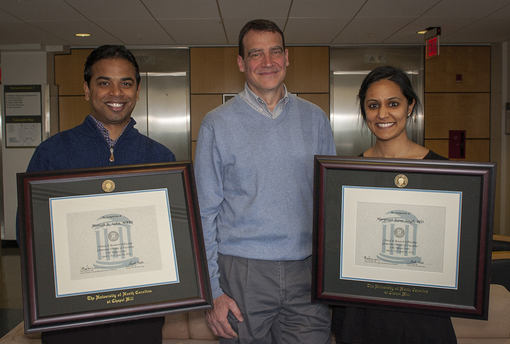 Graduating GN fellows, Dr. Manish Saha and Dr. Harpreet Singh, with their mentor Dr. Patrick Nachman.