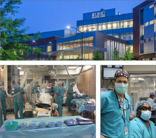 Photo collage of UNC Hillsborough, surgery room and doctors.