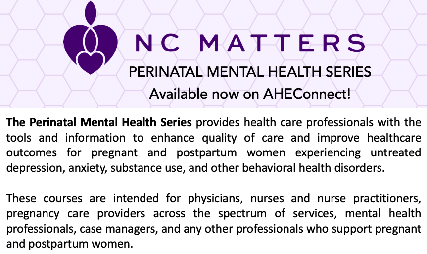 The Perinatal Mental Health Seriesprovides health care professionals with the tools and information to enhance quality of care and improve healthcare outcomes for pregnant and postpartum women experiencing untreated depression, anxiety, substance use, and other behavioral health disorders.