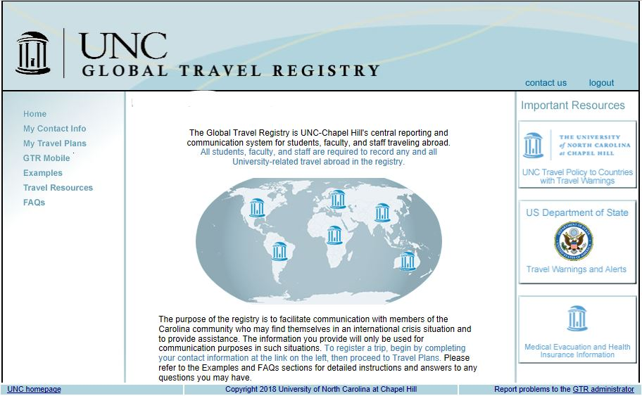 (Formal Notice) UNC Travel Reminders
