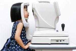 Child getting eyes examined