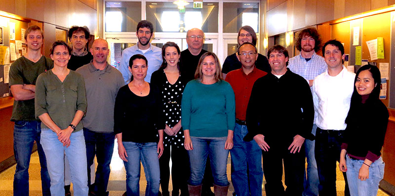 Johnson Lab Group photo in the atrium of the Genetic Medicine Building, 2013
