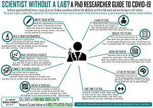 This pdf describes different things to do if you are a PhD researcher without a lab during COVID-19. The link opens the pdf.