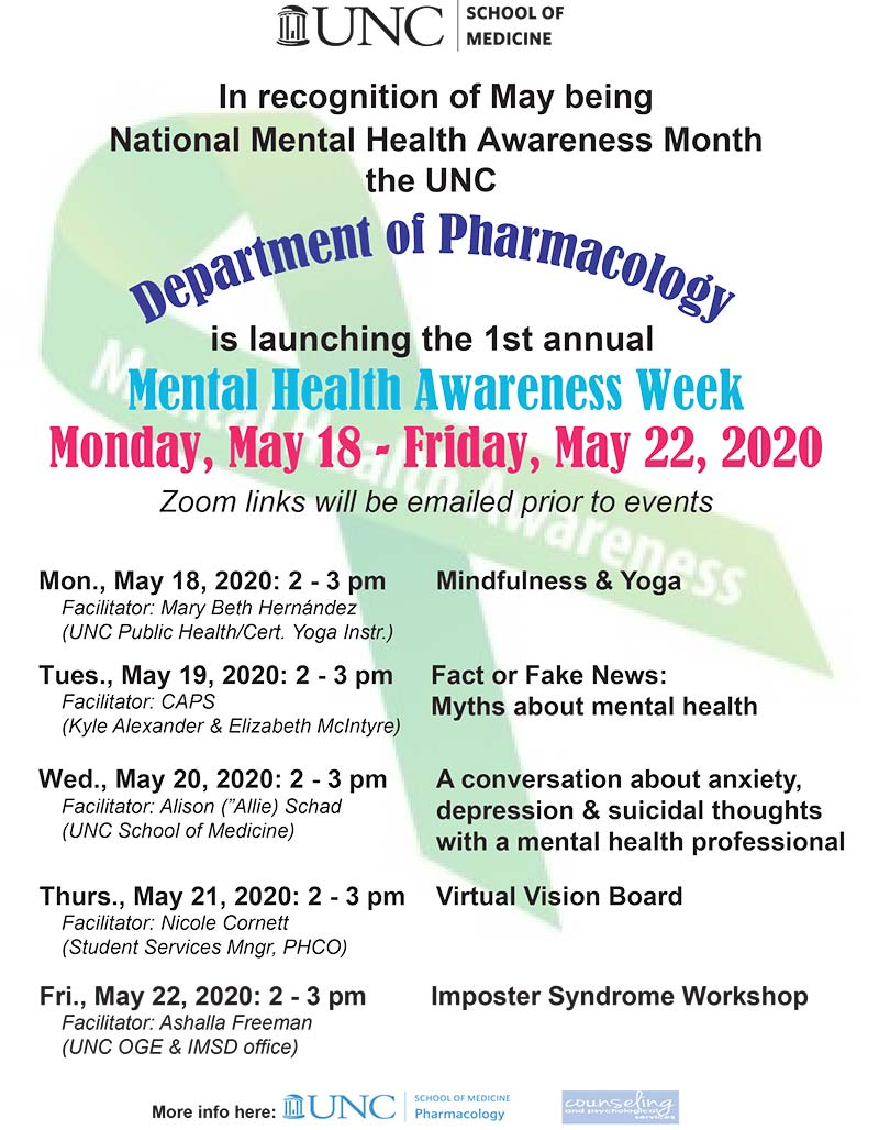 Pharmacology's Mental Health Awareness Week for PHCO Students flyer with the schedule of events.