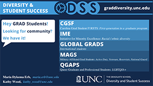 Logo for UNC Graduate School's Diversity and Student Success Program - with info on diversity and community initiatives at UNC. The link goes to the program website at http://graddiversity.unc.edu