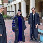 Dr. Amy Pomeroy, hooding ceremony, 2021 graduation with mentors, Dr. Henrik Dohlman and Dr. Tim Elston