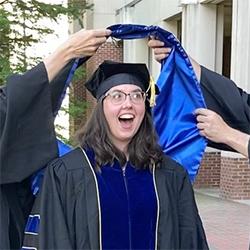 Dr. Amy Pomeroy, hooding ceremony, 2021 graduation