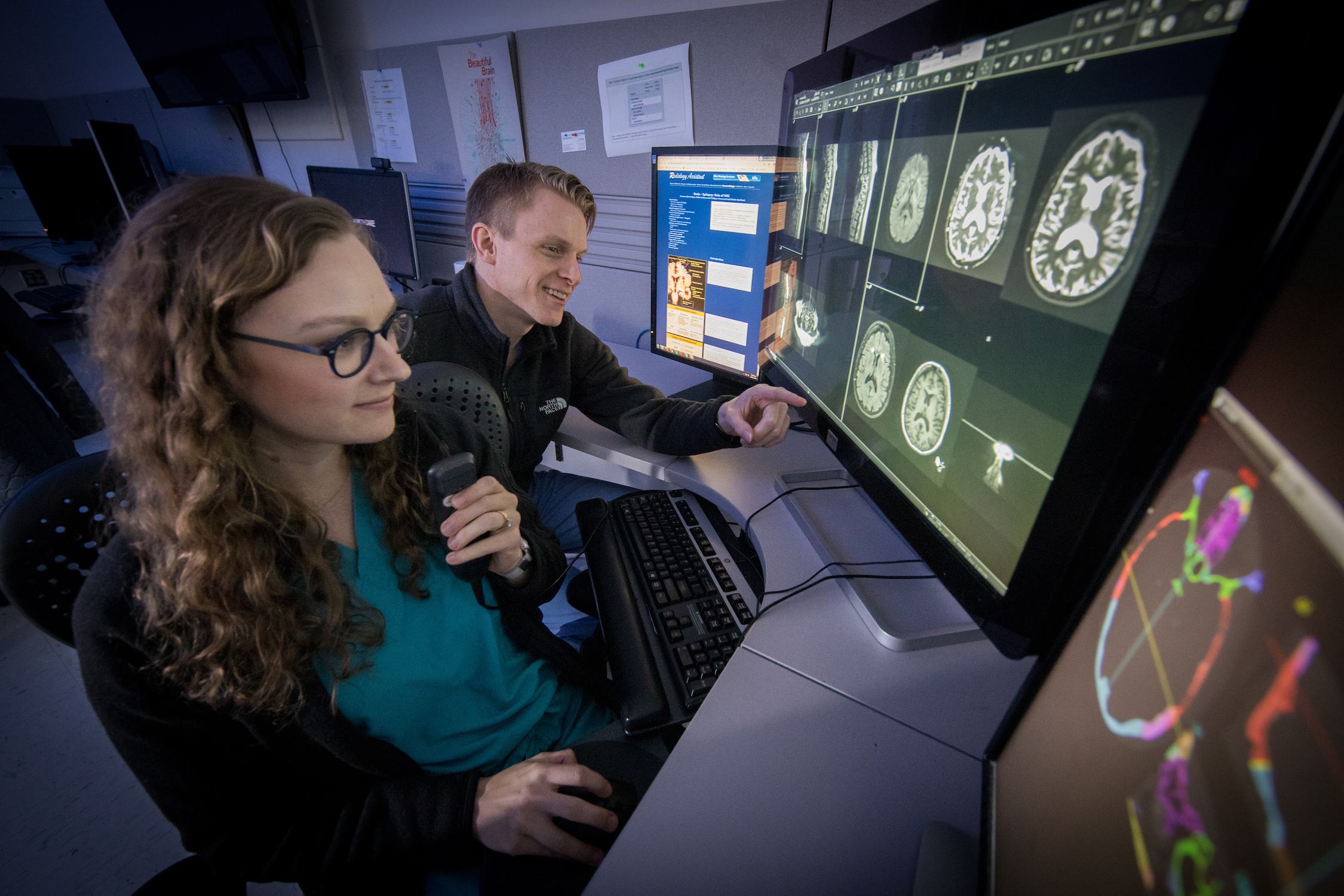 Radiologists working in diagnostic reading room