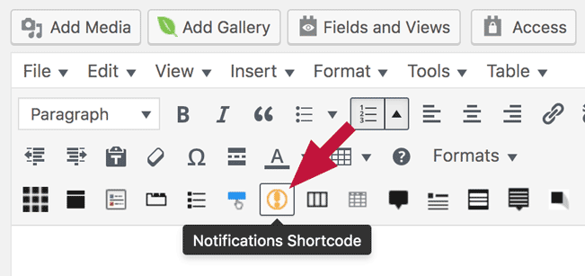 Notification shortcode button in the interface
