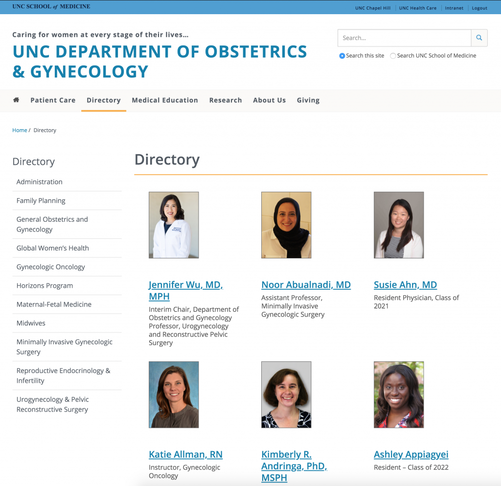People directory sample for OBGYN