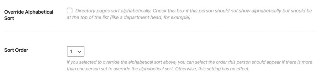 example override and sort order fields