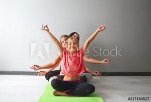 kids practicing yoga