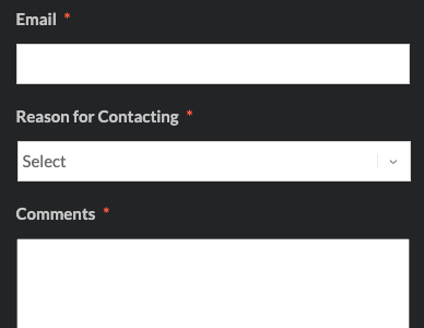 Example feedback form with name, email, reason for contacting and comments fields.